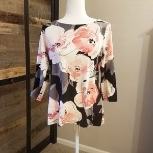 Black, Grey, Pink & White Floral Shirt